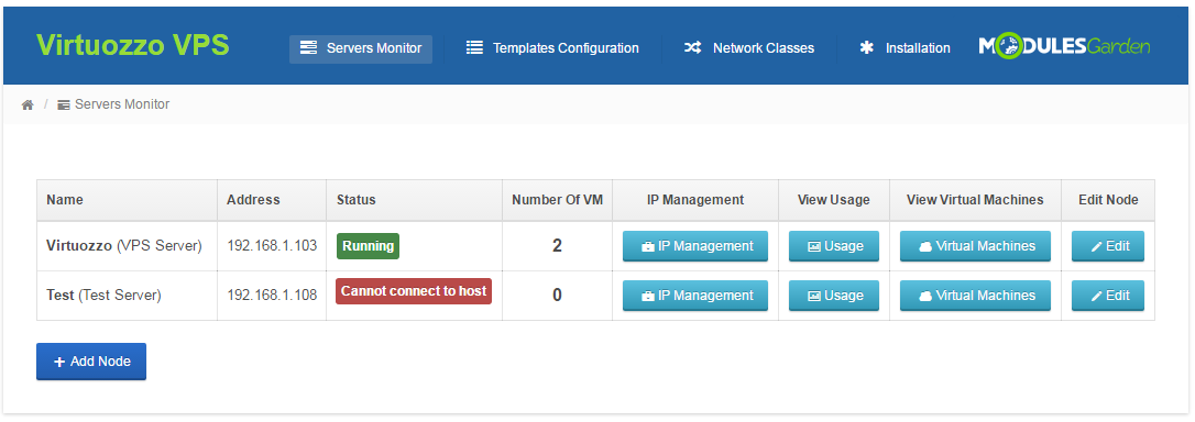 Virtuozzo VPS For WHMCS: Screen 8