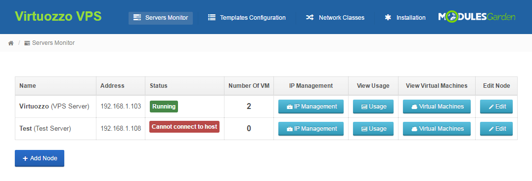 Virtuozzo VPS For WHMCS: Module Screenshot 10