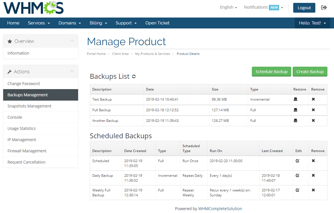 Virtuozzo VPS For WHMCS: Module Screenshot 2