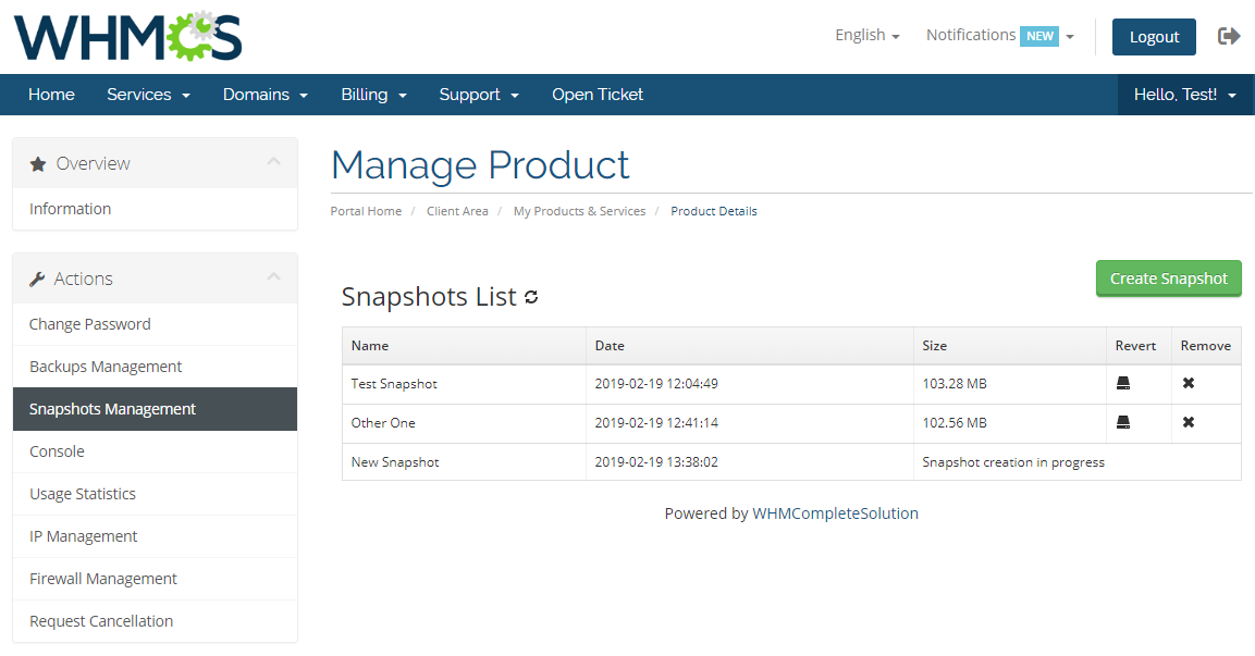 Virtuozzo VPS For WHMCS: Module Screenshot 3