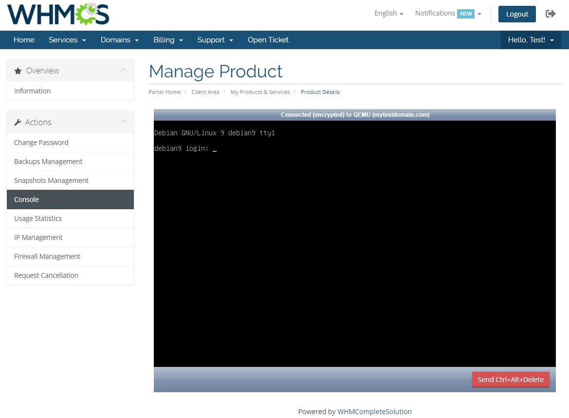 Virtuozzo VPS For WHMCS: Module Screenshot 4