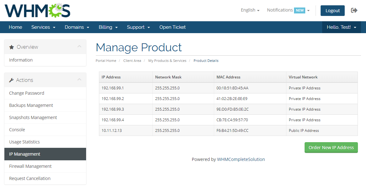 Virtuozzo VPS For WHMCS: Module Screenshot 6