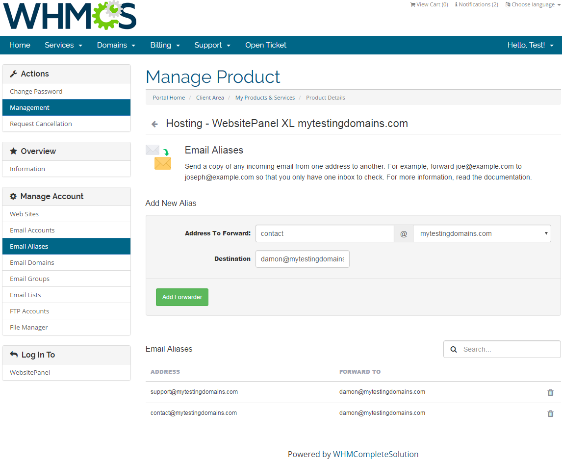 WebsitePanel Extended For WHMCS: Screen 4