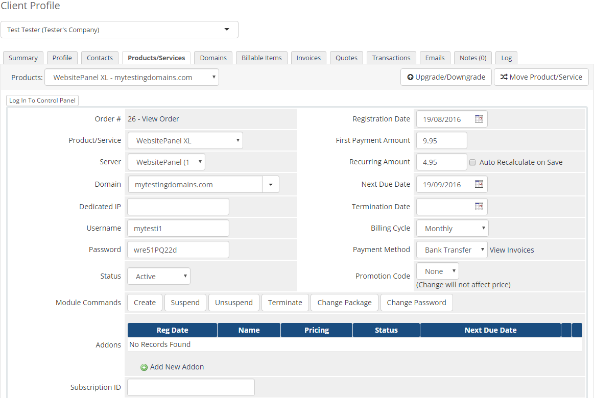 WebsitePanel Extended For WHMCS: Screen 12