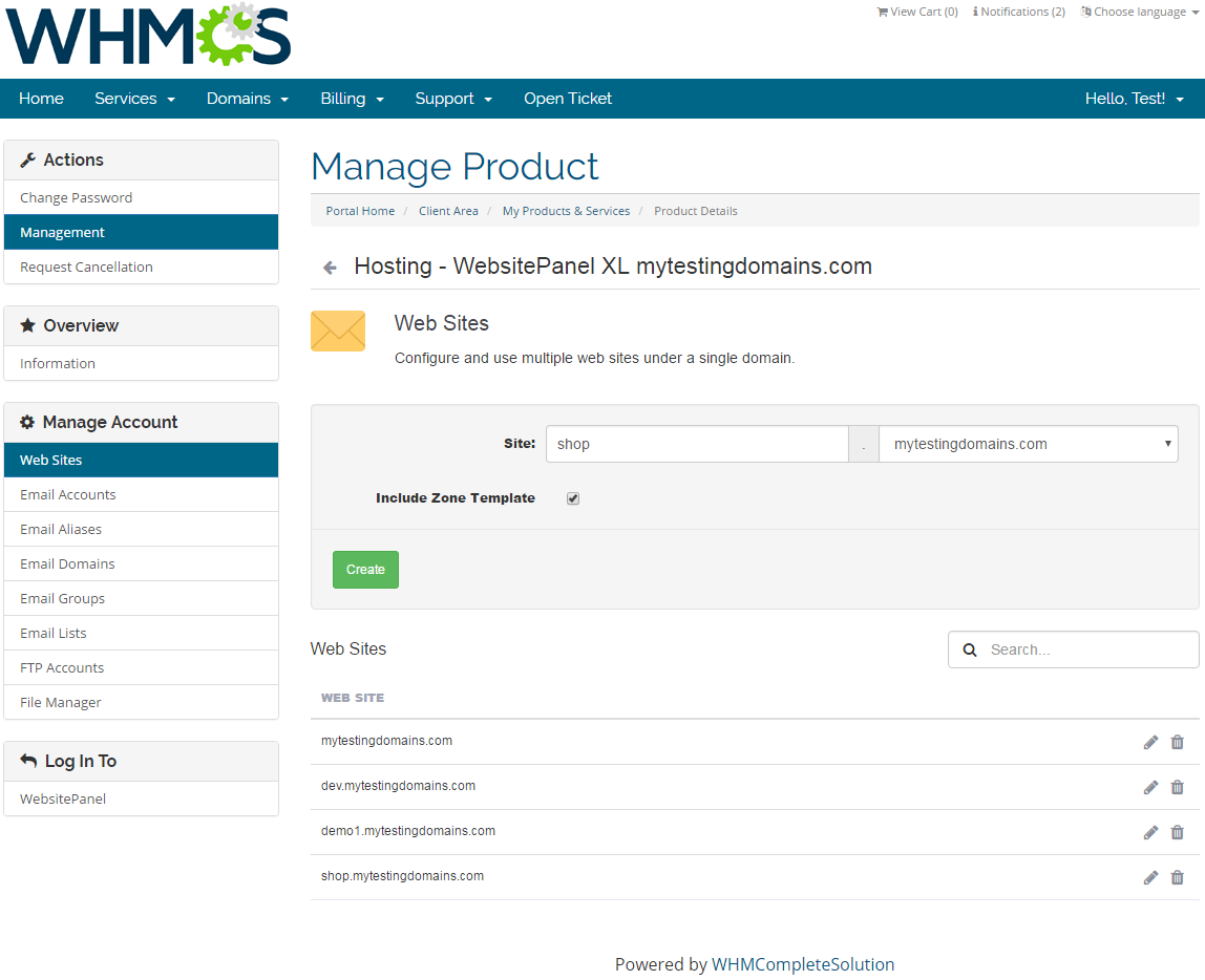 WebsitePanel Extended For WHMCS: Screen 2