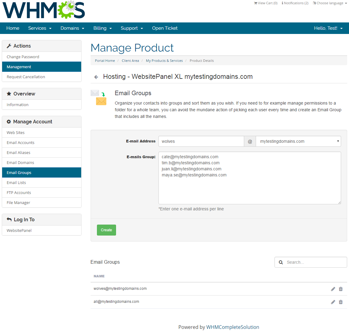 WebsitePanel Extended For WHMCS: Screen 5