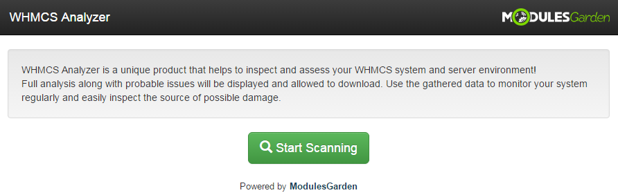 WHMCS Analyzer: Screen 2