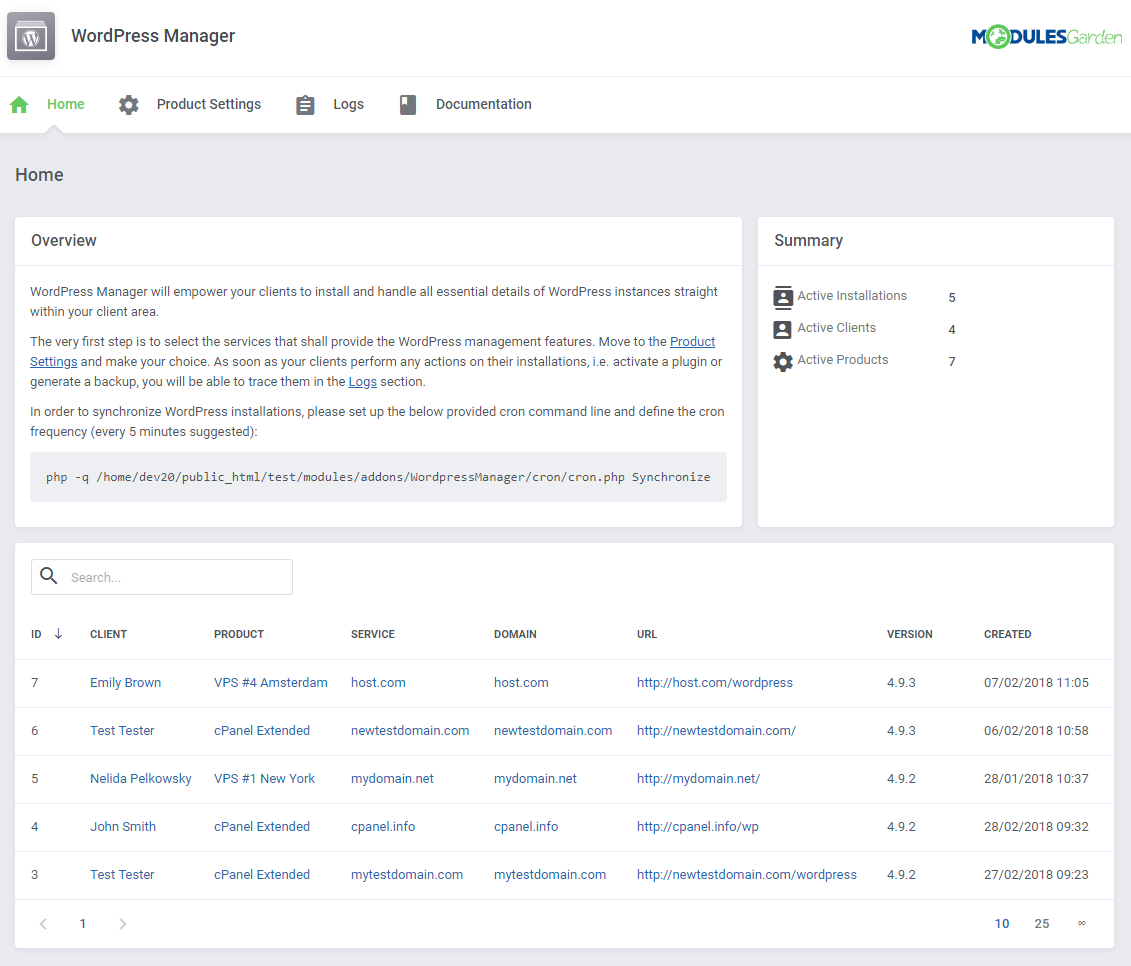 WordPress Manager For WHMCS: Screen 6
