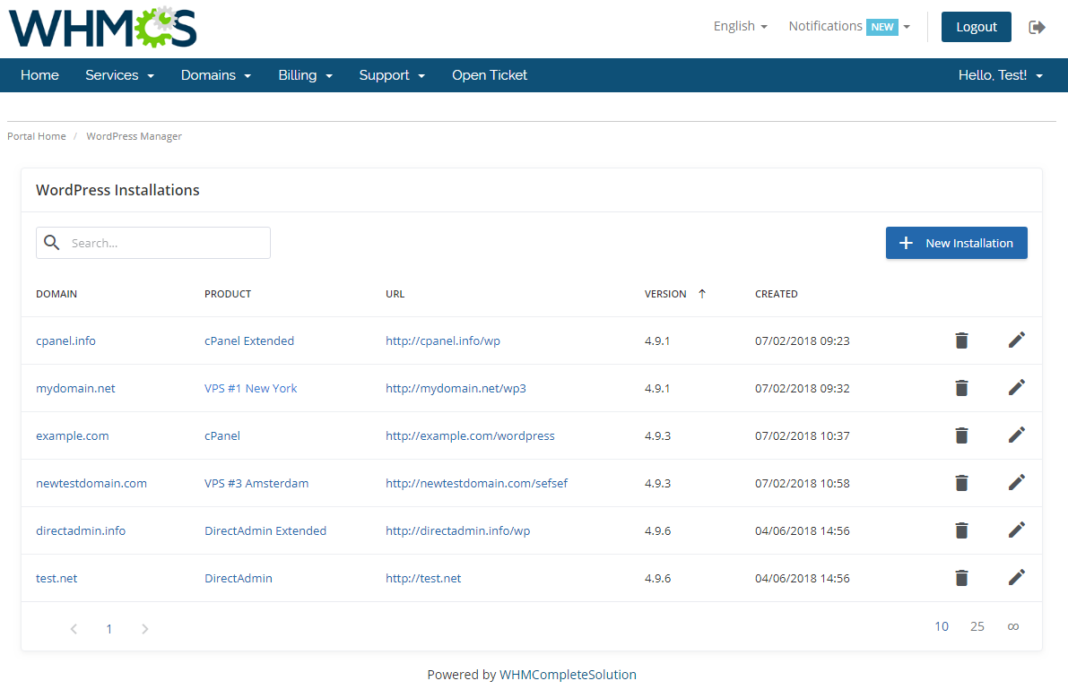 WordPress Manager For WHMCS: Screen 1