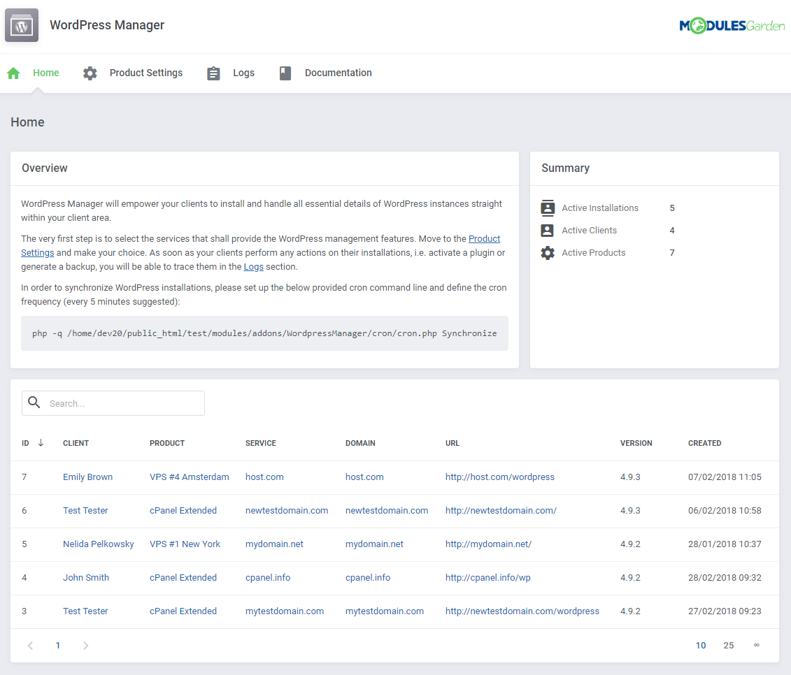 WordPress Manager For WHMCS: Screen 10