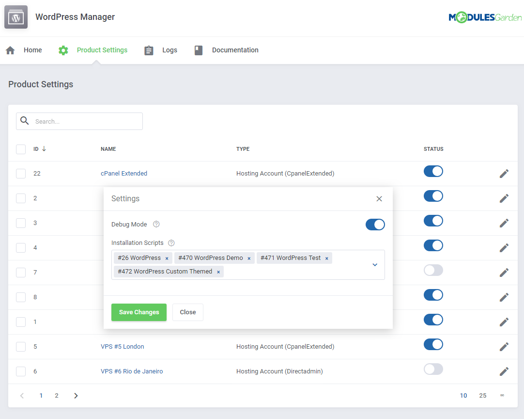 WordPress Manager For WHMCS: Screen 12