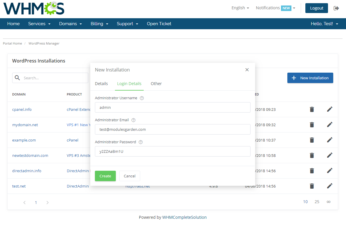 WordPress Manager For WHMCS: Screen 3