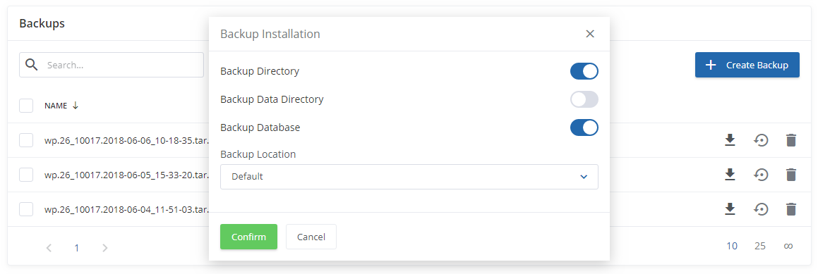 WordPress Manager For WHMCS: Screen 7
