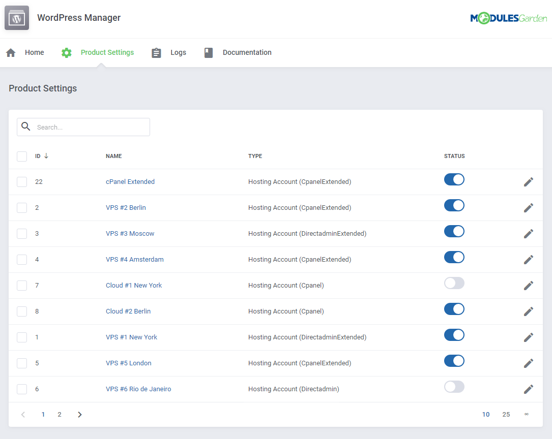 WordPress Manager For WHMCS: Screen 13