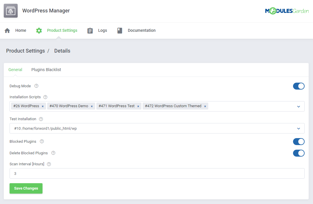 WordPress Manager For WHMCS: Screen 14