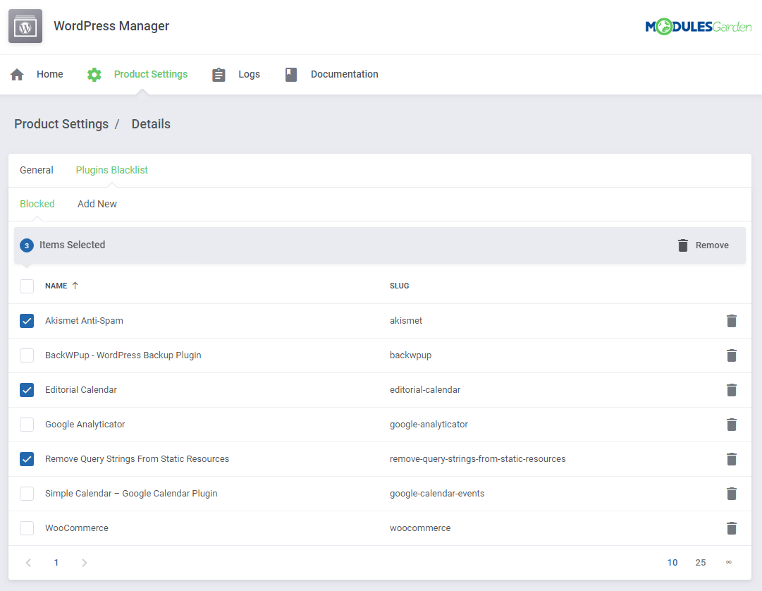 WordPress Manager For WHMCS: Screen 15