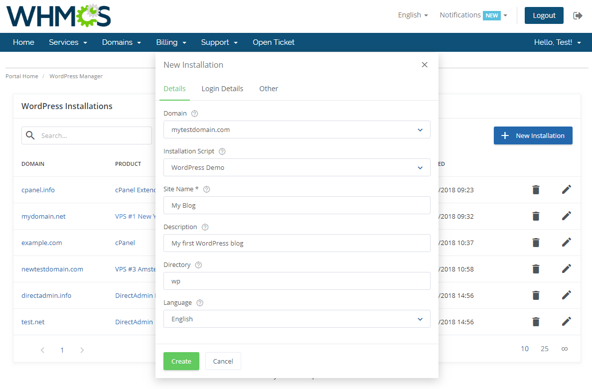 WordPress Manager For WHMCS: Screen 2