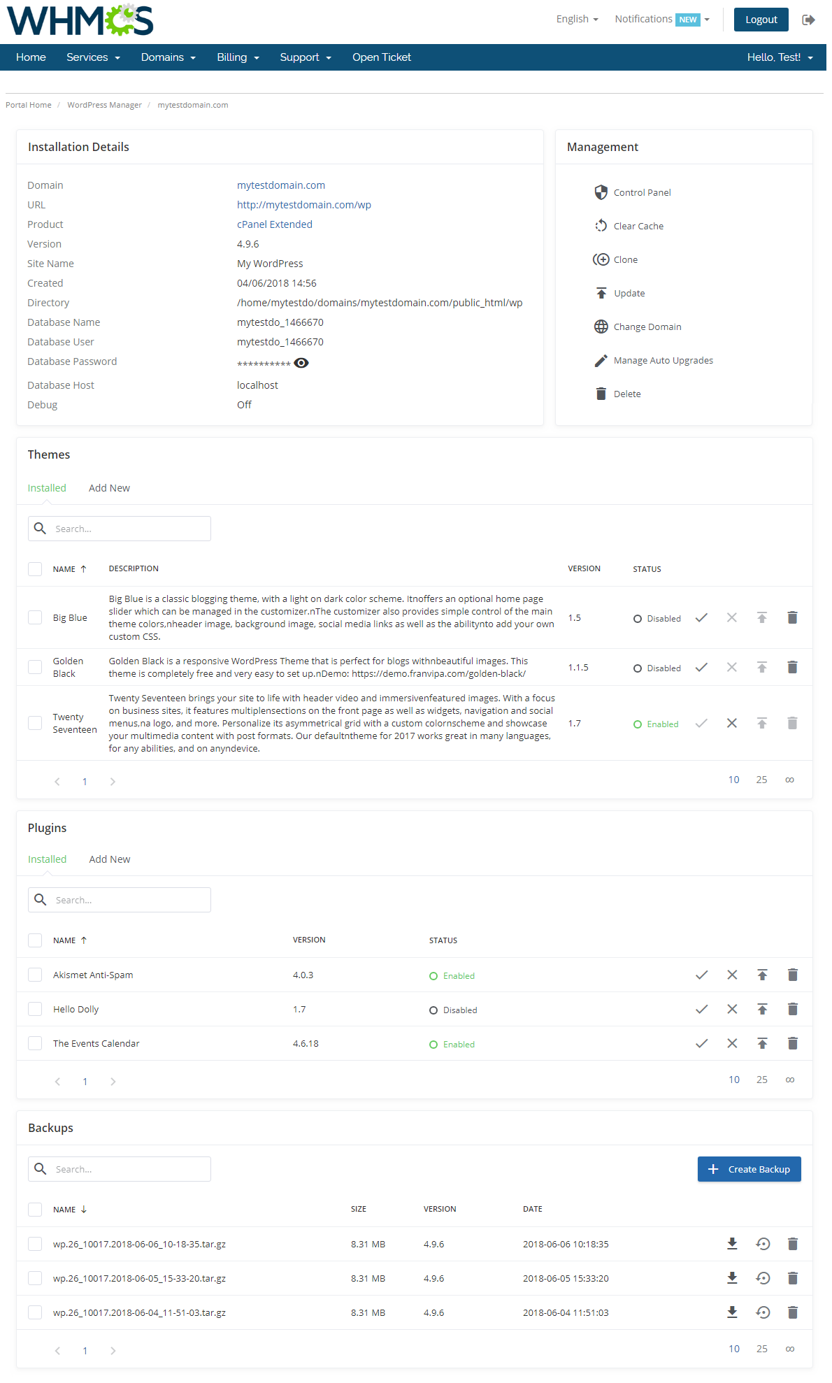 WordPress Manager For WHMCS: Screen 5
