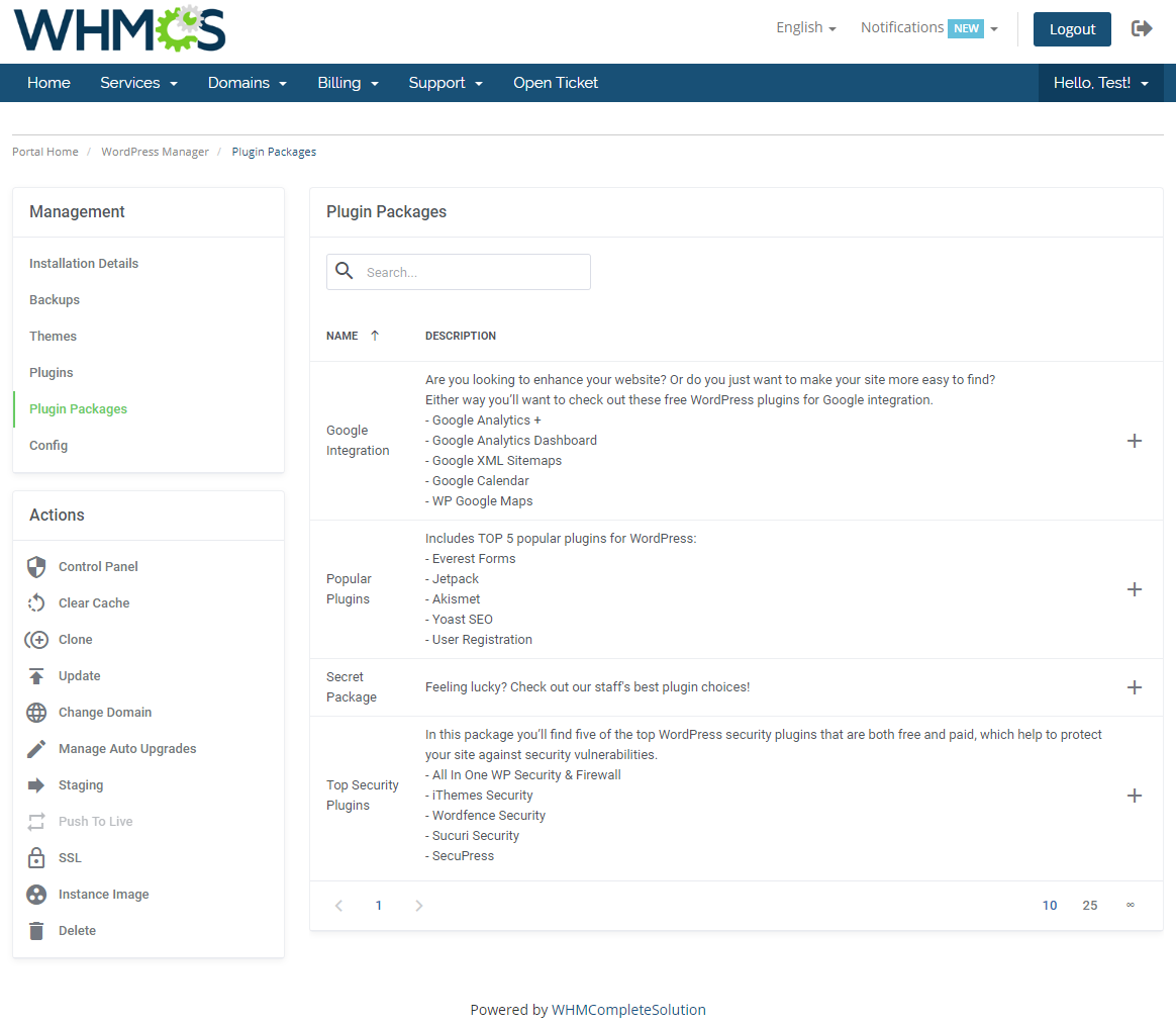 WordPress Manager For WHMCS: Module Screenshot 17