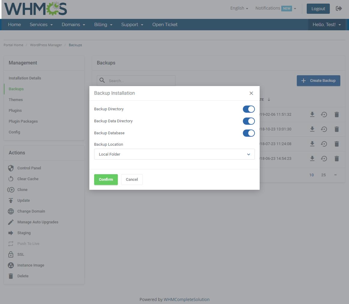 WordPress Manager For WHMCS: Module Screenshot 11