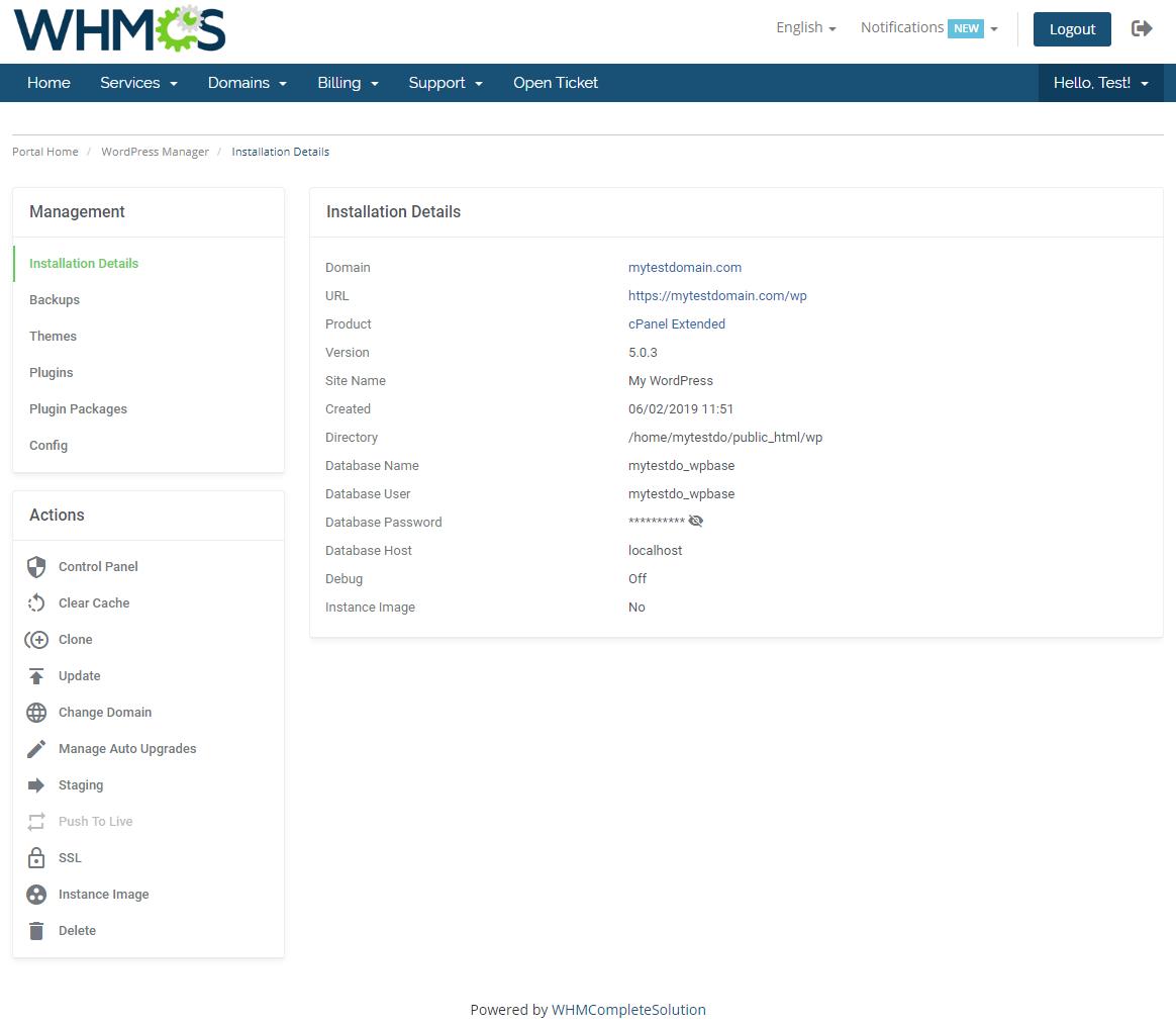 WordPress Manager For WHMCS: Module Screenshot 5