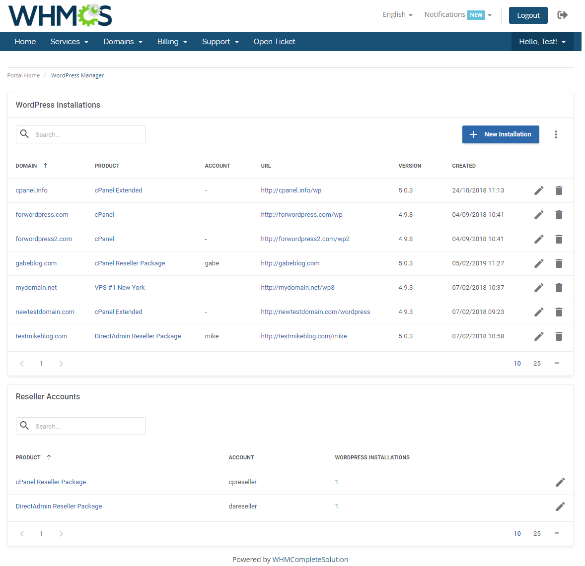 WordPress Manager For WHMCS: Module Screenshot 1
