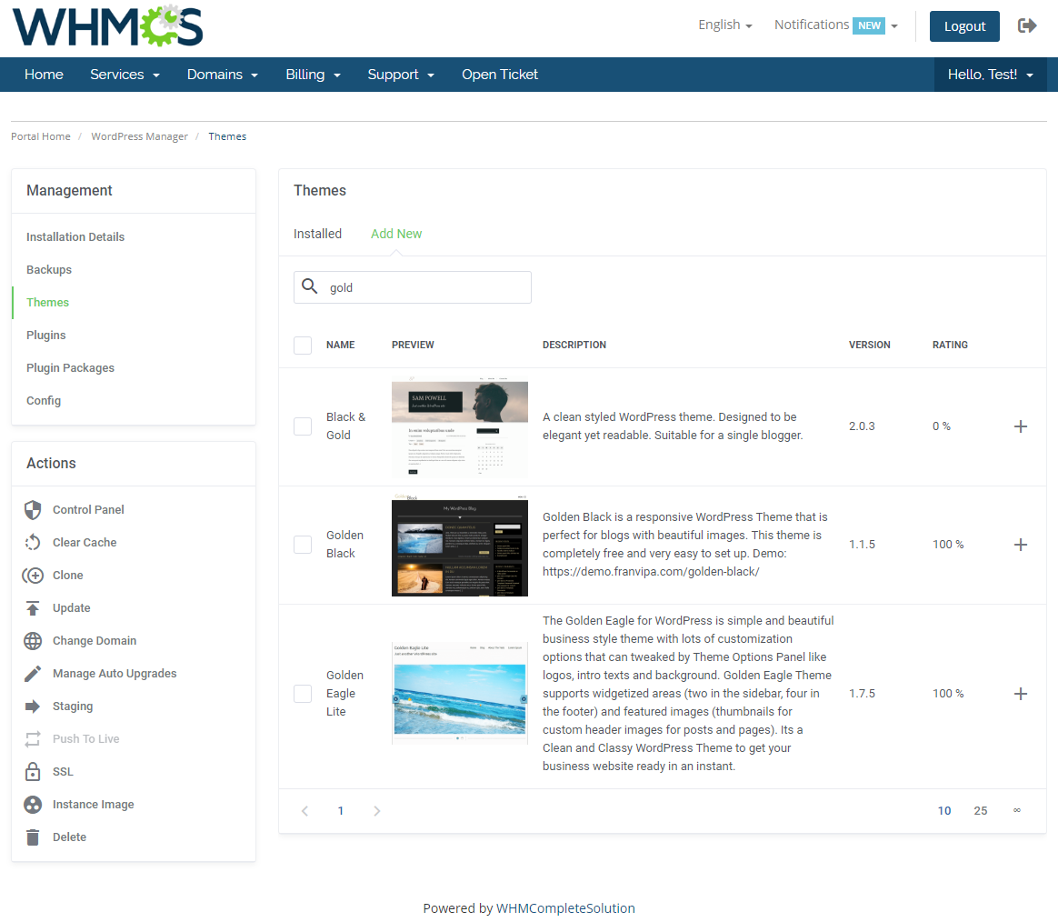 WordPress Manager For WHMCS: Module Screenshot 13