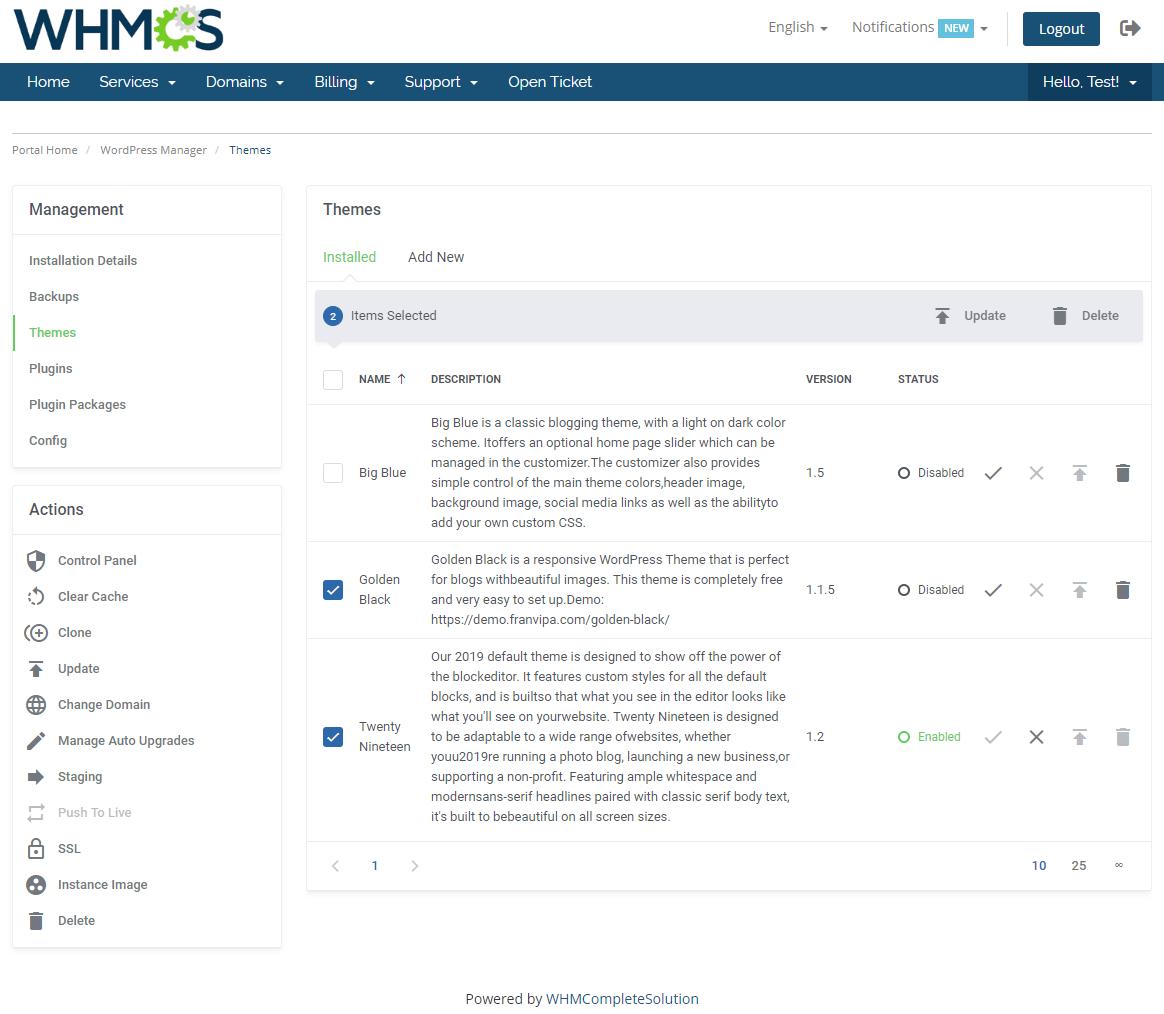 WordPress Manager For WHMCS: Module Screenshot 12