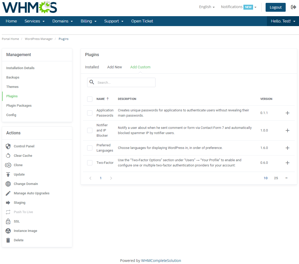 WordPress Manager For WHMCS: Module Screenshot 18