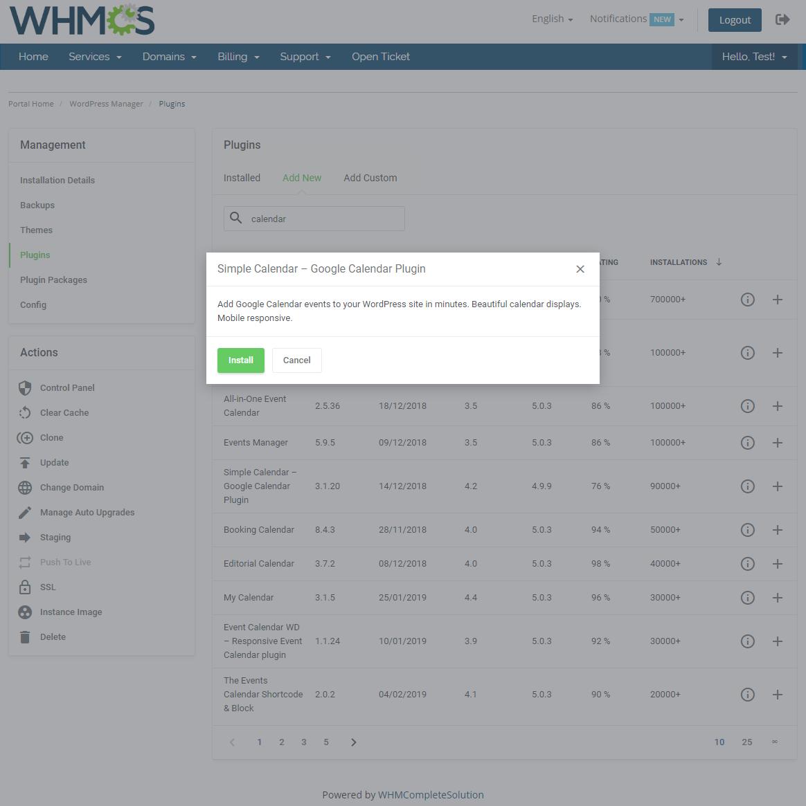 WordPress Manager For WHMCS: Module Screenshot 17