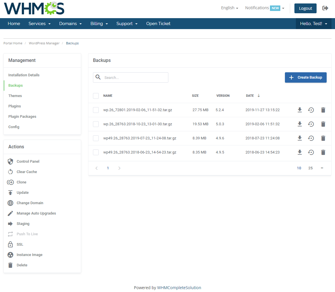 WordPress Manager For WHMCS: Module Screenshot 10