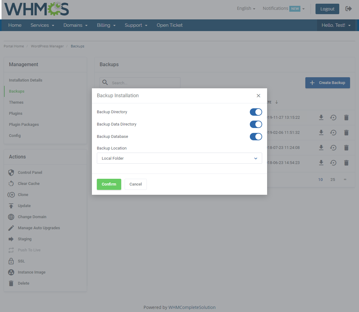 WordPress Manager For WHMCS: Module Screenshot 11