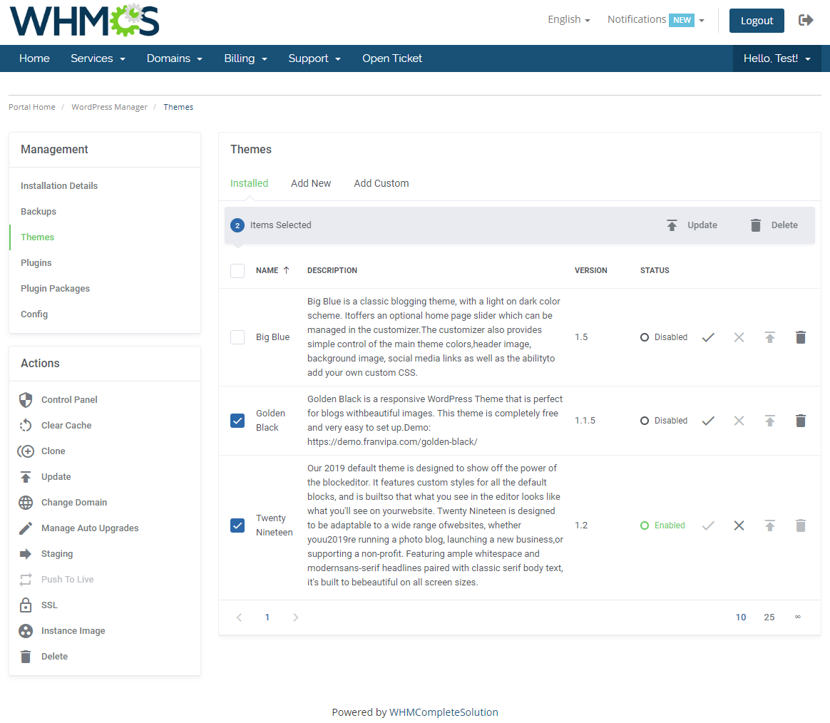 WordPress Manager For WHMCS: Module Screenshot 12