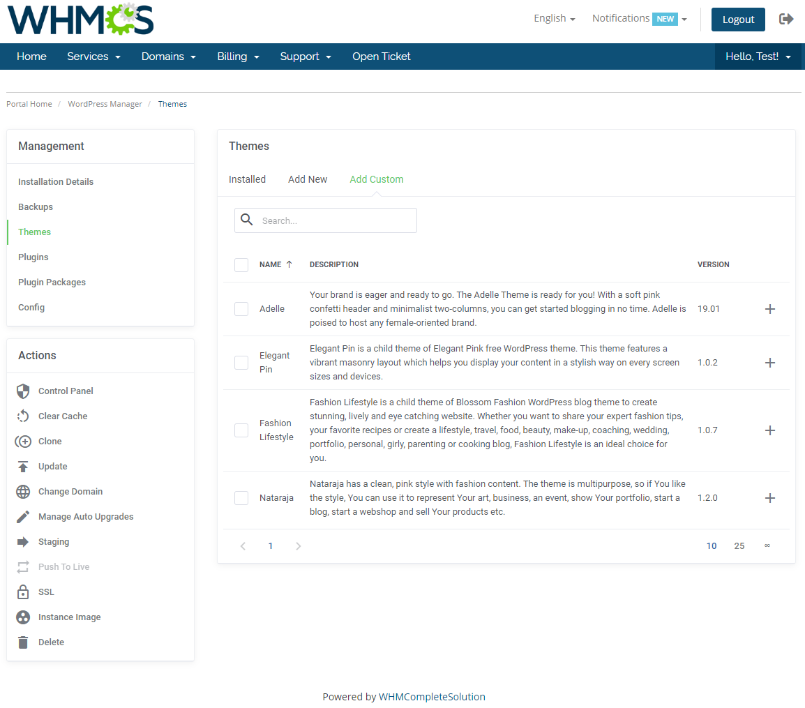 WordPress Manager For WHMCS: Module Screenshot 14