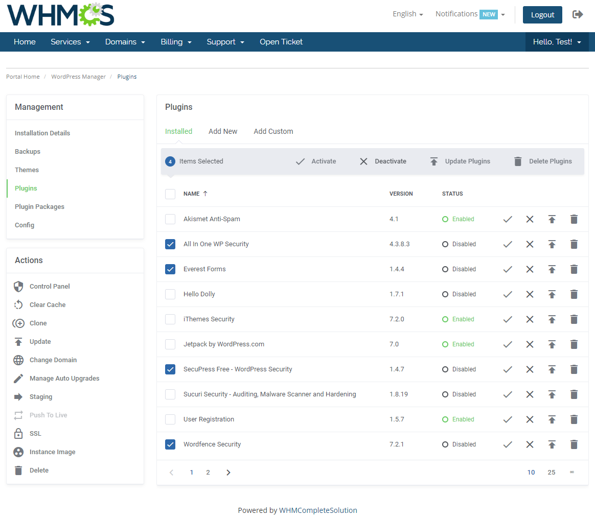 WordPress Manager For WHMCS: Module Screenshot 15