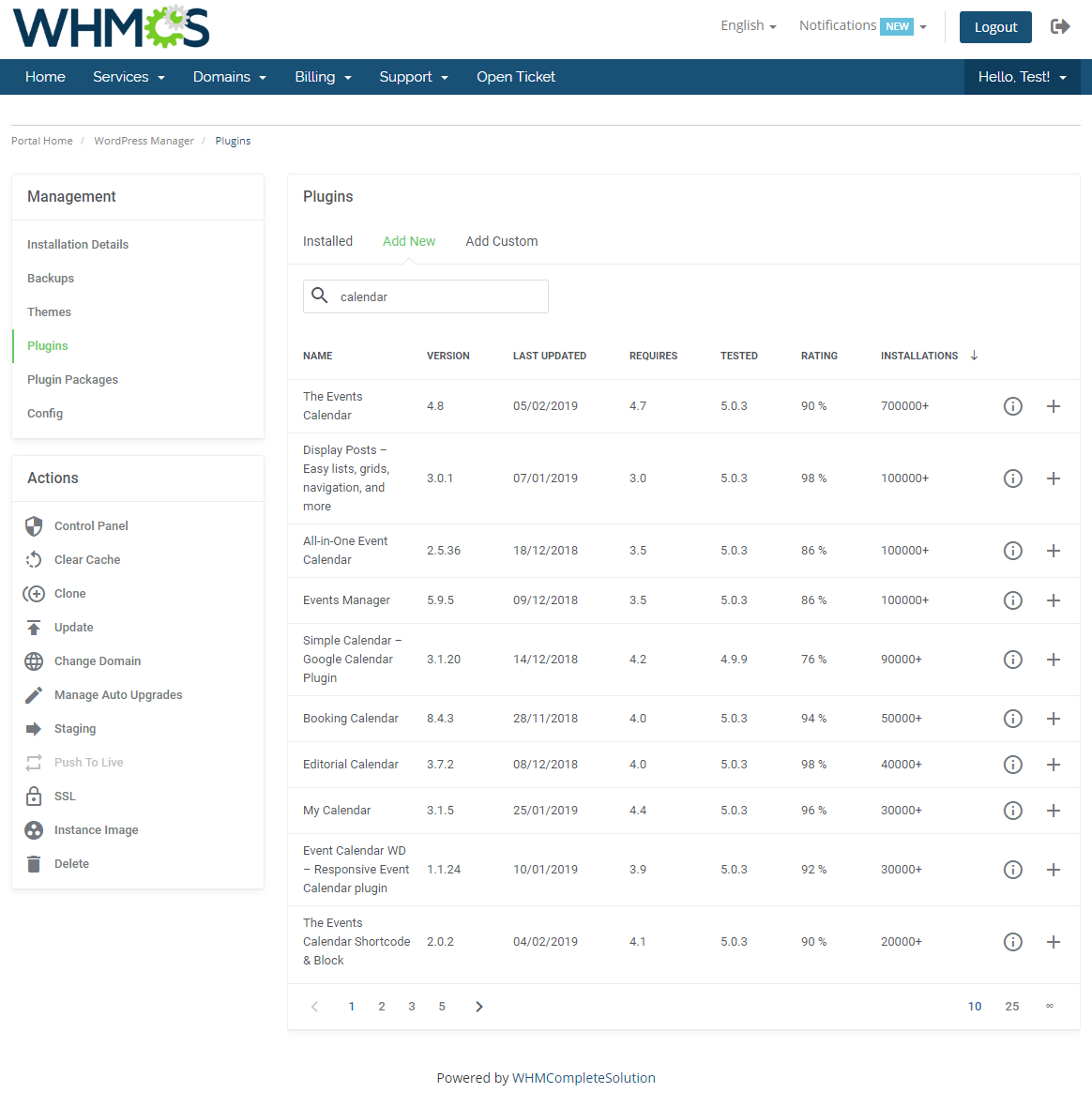 WordPress Manager For WHMCS: Module Screenshot 16