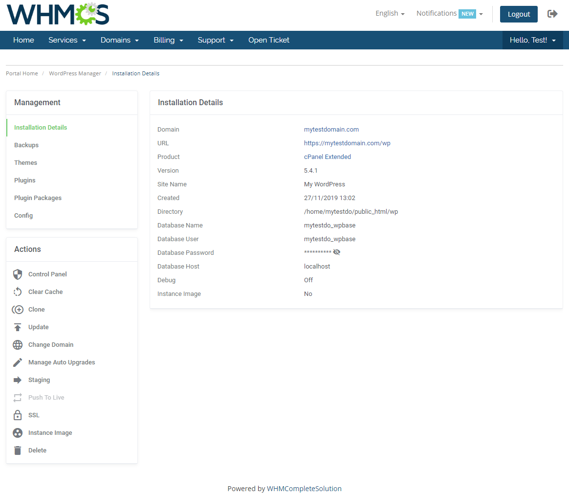 WordPress Manager For WHMCS: Module Screenshot 5