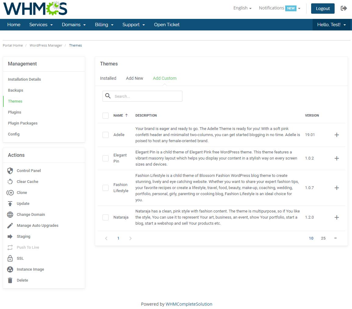WordPress Manager For WHMCS: Module Screenshot 14