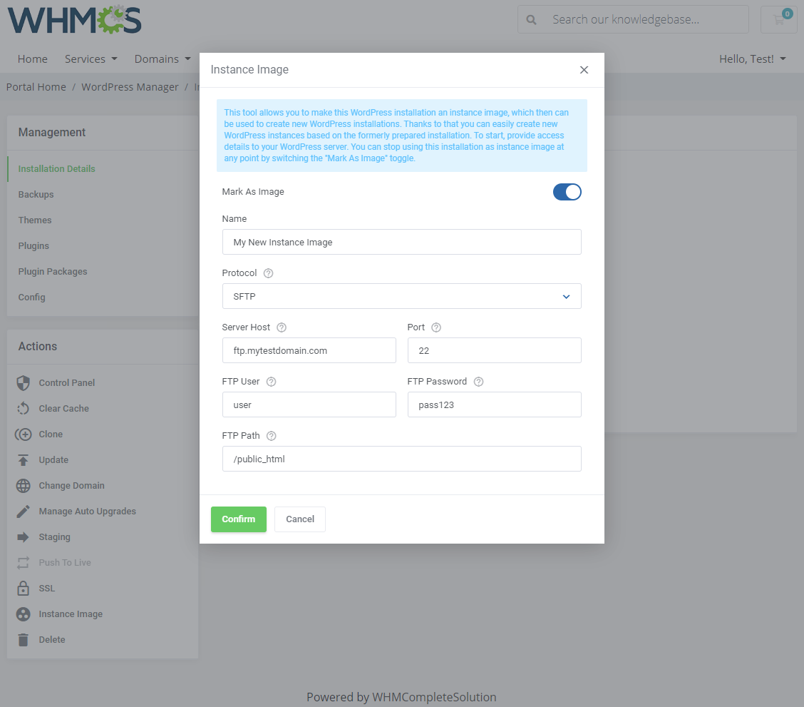 WordPress Manager For WHMCS: Module Screenshot 10