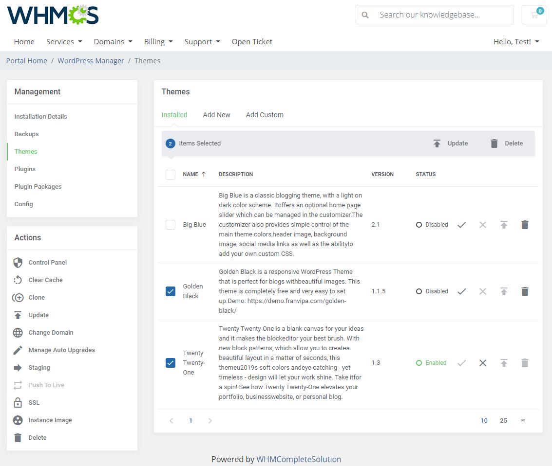 WordPress Manager For WHMCS: Module Screenshot 13