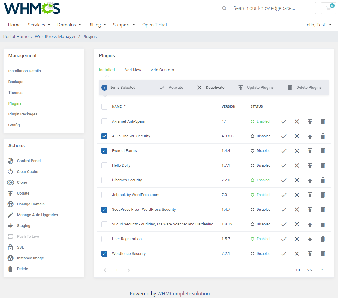 WordPress Manager For WHMCS: Module Screenshot 16