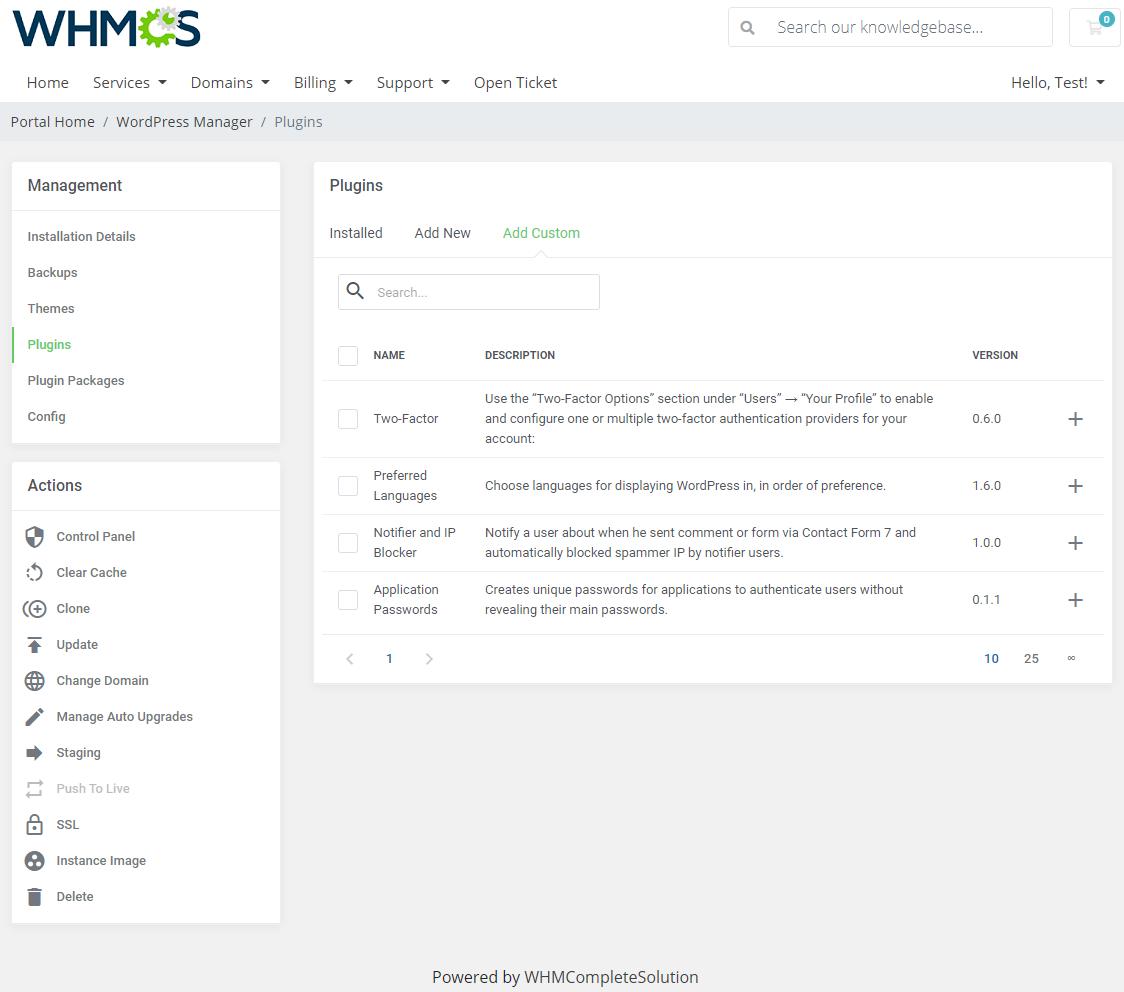 WordPress Manager For WHMCS: Module Screenshot 19