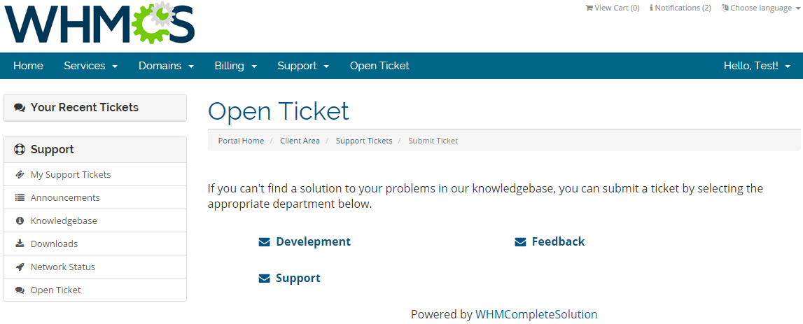 Zendesk For WHMCS: Screen 1