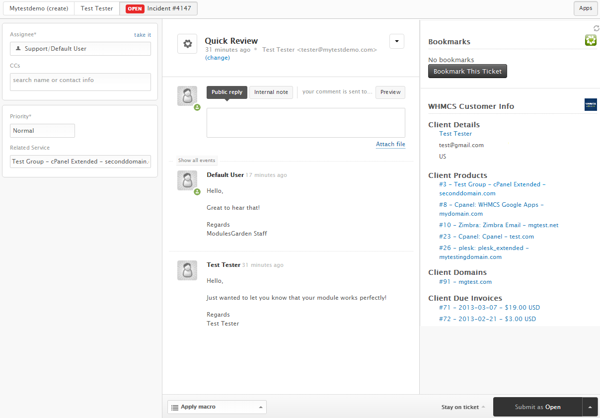Zendesk For WHMCS: Screen 3
