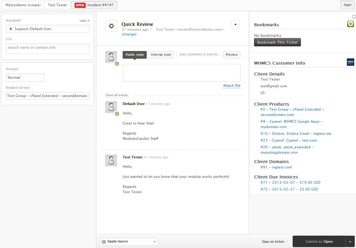 Zendesk For WHMCS: Screen 2