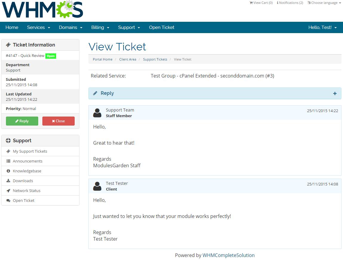 Zendesk For WHMCS: Screen 3