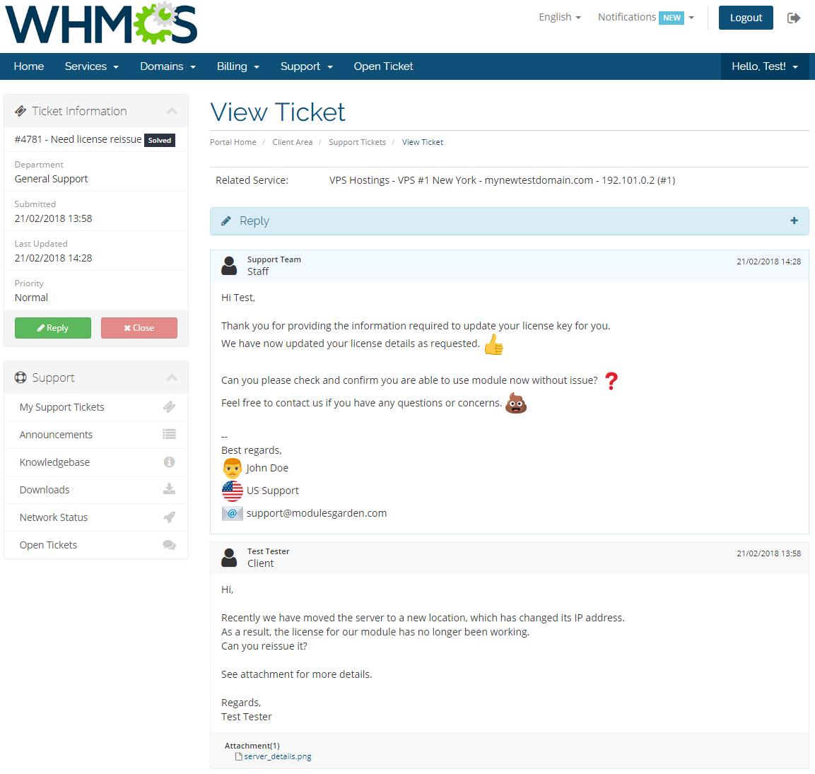 Zendesk For WHMCS: Screen 4