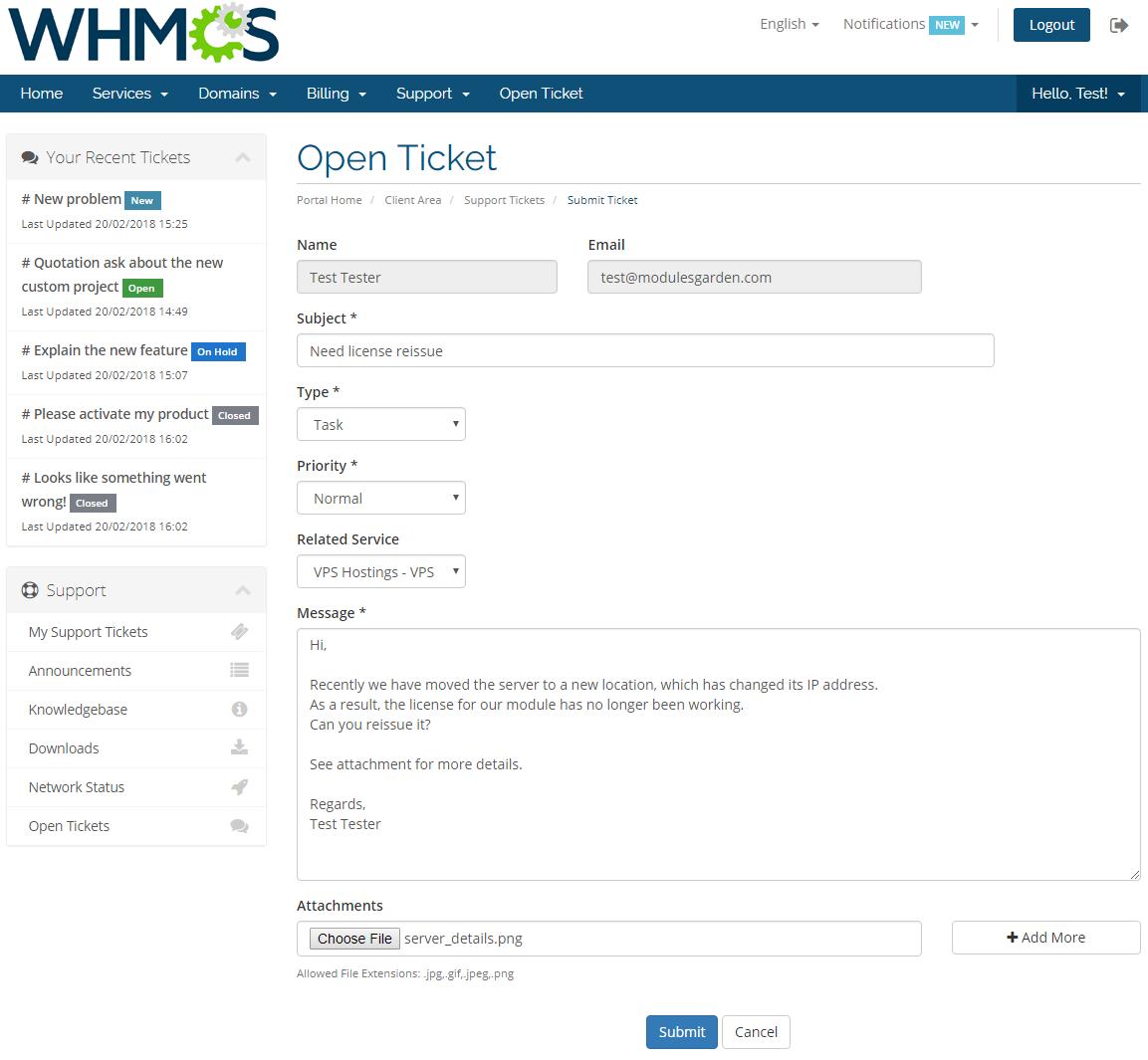 Zendesk For WHMCS: Screen 1