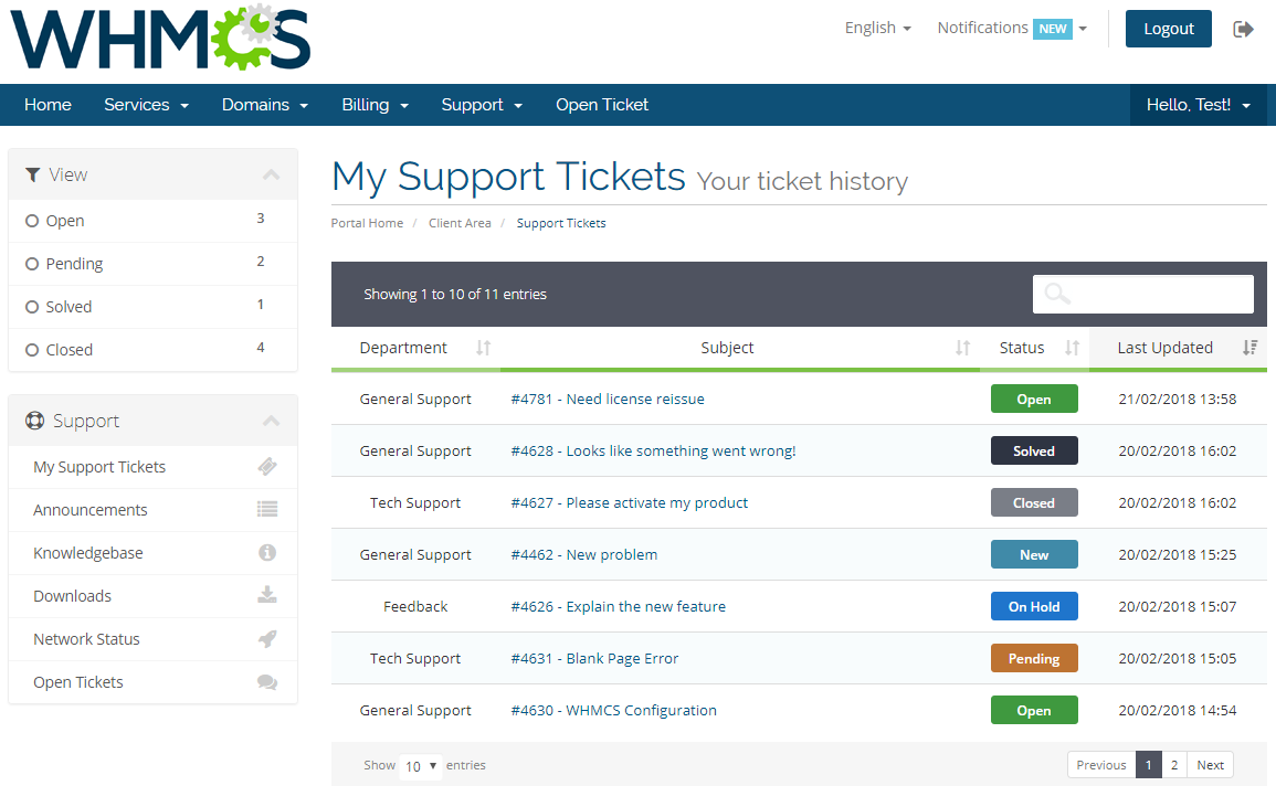 Zendesk For WHMCS: Screen 2
