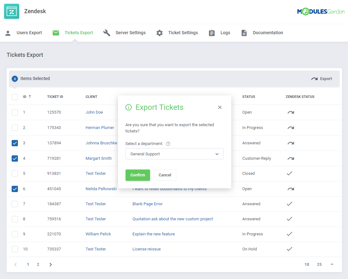 Zendesk For WHMCS: Screen 9